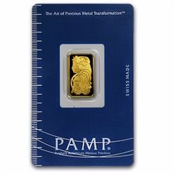 1 Gram 24k Pam Suisse Ingot on Card