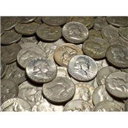 (100) 90% Mixed Date Franklin Half Dollars