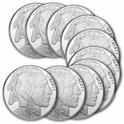 (10) 1 oz Buffalo Private Mint Rounds