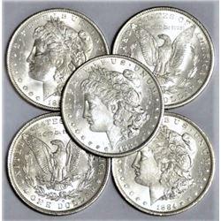(5) 1884 O Bu Morgan Silver Dollars
