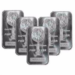 (5) 1 oz. Walking Liberty Silver Bars
