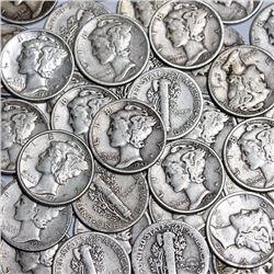 Lot of (100) Mercury Dimes - 90% Silver