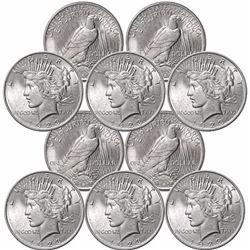 (10) 1923 BU Peace Silver Dollars