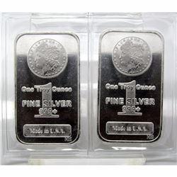 (2) Morgan Design Silver Bars - 1 oz. Bars -