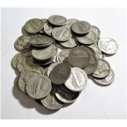 Roll of (50) Mercury Dimes - 90% Silver