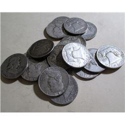(20) Franklin Halves- 90% Silver Mixed Dates