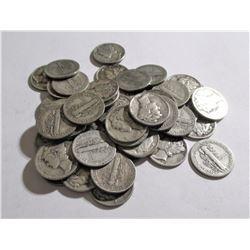 Lot of 50 Mercury Dimes 90% Silver Random Dates