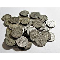 (50) Mercury Dimes- 90% Silver Mixed Dates