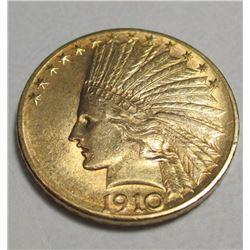 1910 D $10 Gold Indian Eagle-