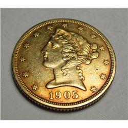 1905 S $5 FIVE Dollar Liberty Half Eagle