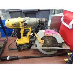 Cordless Hammer Drill, Circular Saw & Pry Bar