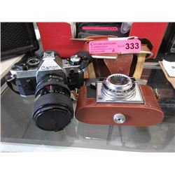 Vintage Agfa camera & Canon AE1 with zoom