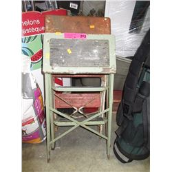 2 Vintage metal folding kitchen step stools