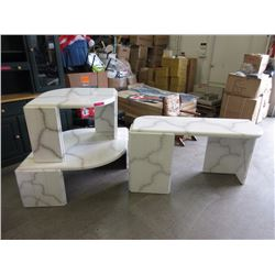 Marble look buffet table & 2 coffee tables