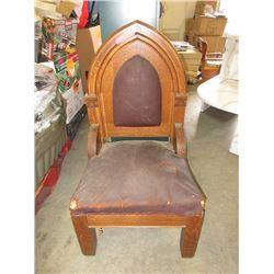 Gothic Revival Oak Hall Chapel Chair