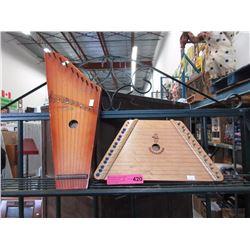 Pair of vintage lap harps
