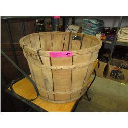 Vintage Wooden Bushel Round Orchard Fruit Basket