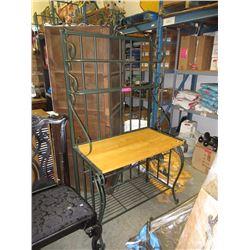 Metal baker's rack with pine top