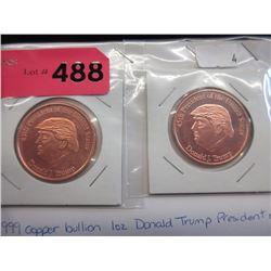 """2 Fine Copper 1 Oz. """"Donald Trump""""  Art Rounds"""