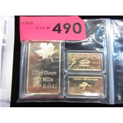3 Gold Plated Art Bars - Encapsulated