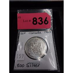 1963 Canadian Silver .50¢ Coin