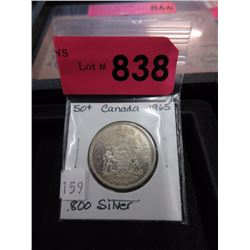 1965 Canadian Silver .50¢ Coin