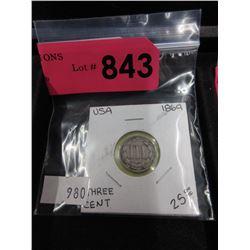 1869 USA 3¢ Nickel Coin