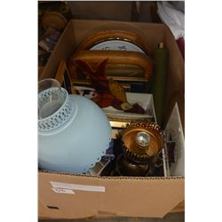 BOX OF LAMPS, CLOCKS, COLLECTIBLES