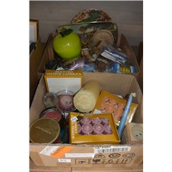 BOX OF COLLECTIBLE ITEMS AND BOX OF CANDLES
