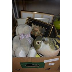 BOX OF PICTURES, JEWELLERY BOX & COLLECTIBLES
