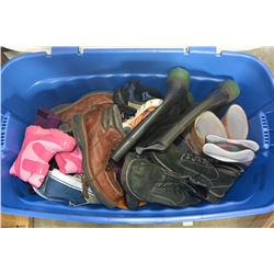 LARGE TOTE FULL OF SHOES AND BOOTS