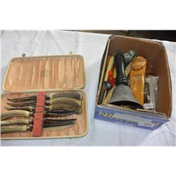 COLLECTIBLE WOOD WARE AND NUT CRACKERS AND CASED KNIFE SET