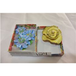 HANDMADE CHINA PIN AND EARRING SET AND YELLOW FLOWER PIN