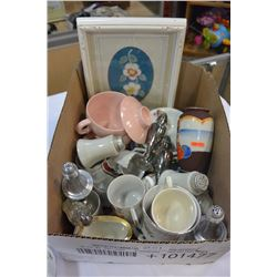 LOT OF ASSORTED CHINA AND SALT AND PEPPERS