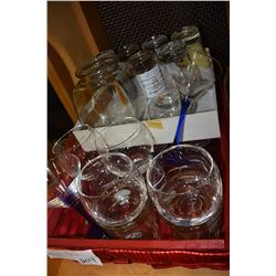TRAY OF DRINK GLASSES AND TUMBLERS ETC