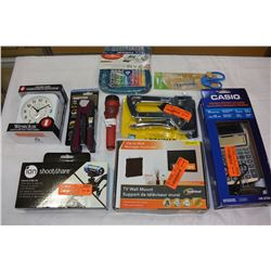 BOX OF NEW HOUSEHOLD ITEMS & OFFICE ITEMS