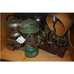 LOT OF VINTAGE LANTERNS AND TOASTER AND KETTLE ETC