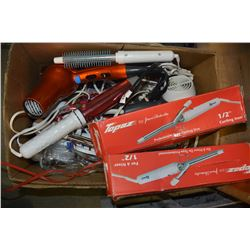 BOX OF BLOW DRYERS AND CURLING IRONS AND HOUSEHOLD