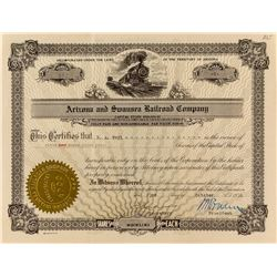 Arizona & Swansea Railroad Company Stock Certificate