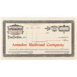 Amador Railroad Company Stock Certificate