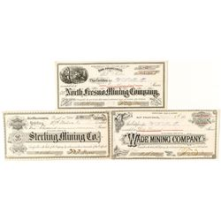 Three Mining Stock Certificates