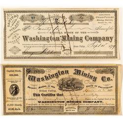 Washington Mining Company Stock Certificate Pair