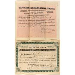 Two Bullion Mountains Copper Co. Stock Certificates