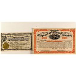 Mariposa Land & Mining Stock Certificates