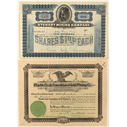 Two Idaho Mining Stock Certificates