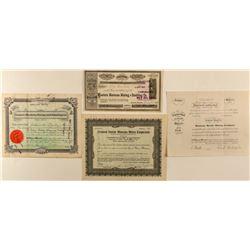 Four Montana Mining Stock Certificates