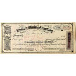 Bullion Mining Co. Stock Certificate
