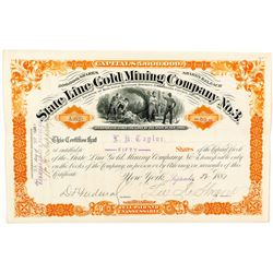 State Line Gold Mining Co. No. 3 stock certificate