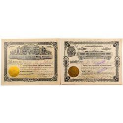 January Jones Mining Stock Certificates w/ Jones Signature & Huge Transfer of Shares
