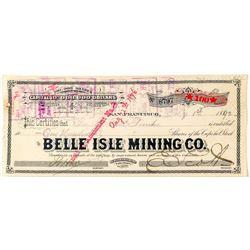 Belle Isle Mining Co. Stock Certificate